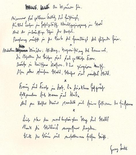 Faksimile der Handschrift Georg Trakl