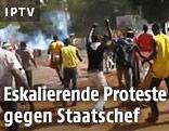 Protestierende Menschen auf der Straße