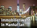 Blick auf Manhattan von der Brooklyn Bridge aus