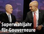 Die Kandidaten bei der Gouverneurswahl in Kalifornien JerryBrown und Neel Kashkari