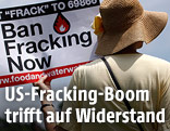 Frau demonstriert gegen Fracking