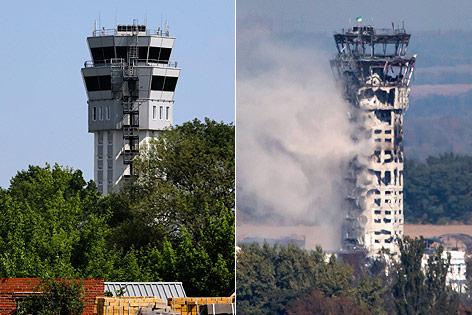 Kombo aus dem intakten Flughafentower von Donezk und einem Bild des zerschossenen Towers