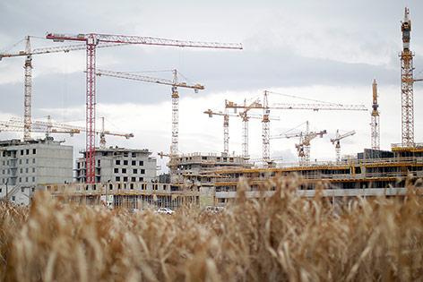 Baustelle von Wiens größtem Stadtentwicklungsprojekt, der Seestadt Aspern