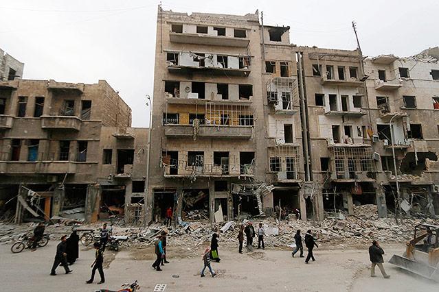 Zerstörte Gebäude in Aleppo