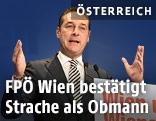 """Heinz-Christian Strache während einer Rede im Rahmen des """"Landesparteitag FPÖ Wien"""""""