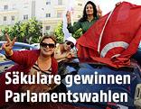 Unterstützer der Partei Nida Tunis jubeln