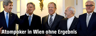 John Kerry, Philip Hammond, Sergei Lavrov, Mohammad Javad Zarif und Frank-Walter Steinmeier