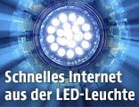 Montage zeigt einen blauen strahlenförmigen Hintergrund mit einer LED-Leuchte davor