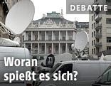 TV-Übertragungswagen vor dem Wiener Palais Coburg