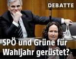 Werner Faymann und Eva Glawischnig im Parlament