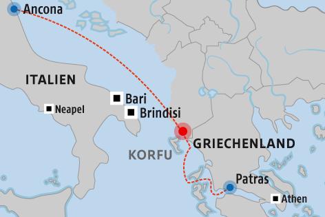 "Karte zeigt den geplanten Seeweg der Fähre ""Norman Atlantic"""