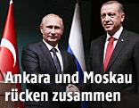 Türkischer Staatspräsident Recep Tayyip Erdogan mit seinem russischen Amtskollegen Wladimir Putin
