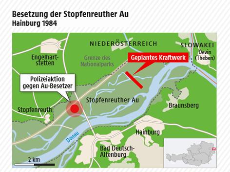 Karte zeigt den Standort der Besetzung und das geplante Wasserkraftwerk in der Hainburger Au 1984