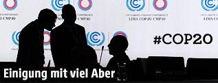 Silhoutten von Delegierten auf dem Klimagipfel