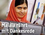 Malala Yousafzai mit der Nobelpreis-Medaille