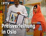 Malala Yousafzai und Kailash Satyarthi bei der Preisverleihung