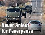 Militärische Trucks auf der Straße