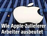 Apple-Logo auf einer Glaswand