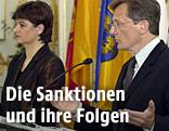 Ex-Bundeskanzler Wolfgang Schüssel  und Vizekanzlerin  Susanne Riess-Passer bei einem Sonderministerrat im Mai 2000