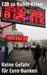 Schild vor einer Wechselstube in Moskau
