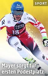 Matthias Mayer während der Abfahrt in Santa Caterina