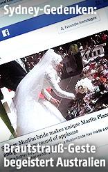 Muslimische Braut legt ihren Brautstrauss auf die Gedenkstätte nieder