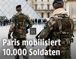Soldaten vor dem Louvre in Paris