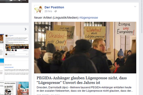 PEGIDA-Satire auf Facebook vom Postillion