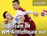 Handballer Maximilian Hermann (Österreich) gegen Bertrand Roine (Katar)