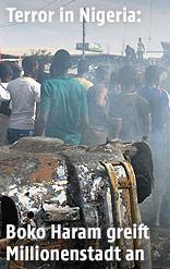 Rauch auf einem Markt in Maiduguri