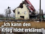 Ein zerstörtes Gebäude nahe Slowjansk