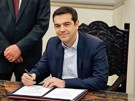 Griechenlands Ministerpräsident Alexis Tsipras bei der Angelobung