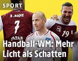 Handballer Robert Weber (Österreich) vor Katar-Spielern