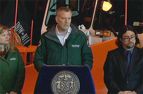 New Yorks Bürgermeister Bill de Blasio bei Pressekonferenz
