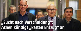 Die Finanzminister Yanis Varoufakis (Griechenland) und Michel Sapin (Frankreich)