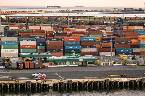 Container im Hafen von Los Angeles