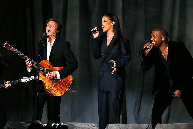 Die Musiker Paul McCartney, Rihanna und Kanye West