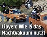 Jeep-Konvoi mit IS-Flaggen