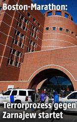 Polizeiwagen vor dem Gerichtsgebäude in Boston