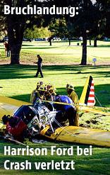 Harrison Fords gelbes Flugzeug liegt auf einem Golfplatz