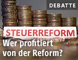 """Geldmünzenstapel und Schriftzug """"Steuerreform"""""""