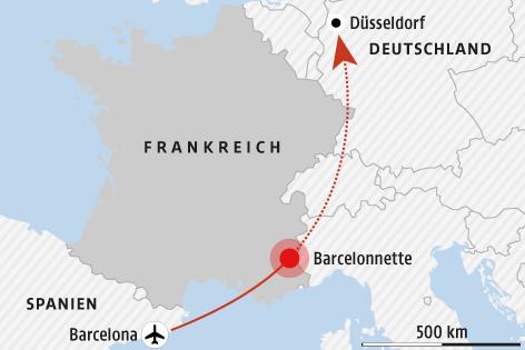 Karte zeigt Unglücksort in Frankreich