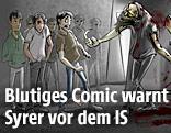 Flugblatt des US-Militärs im Cartoon-Stil