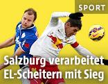 Matthias Maak (Grödig) und Jonatan Soriano (Salzburg) im Zweikampf