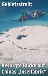 Chinesische Bauarbeiten auf einer Insel