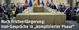 Verhandlungstisch zu den Atomgesprächen in Lausanne
