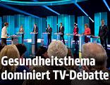 Kandidaten von sieben britischen Parteien bei der einzigen Fernsehdabatte vor der Parlamentswahl am 7. Mai