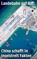 Satellitenaufnahme vom Bau einer Start- und Landebahn auf den Spratly Inseln