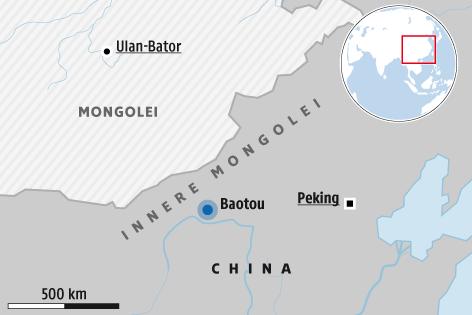 Karte zeigt die Stadt Baotou in der Inneren Mongolei