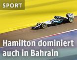 Lewis Hamilton (GBR/Mercedes) auf der Rennstrecke von Bahrain